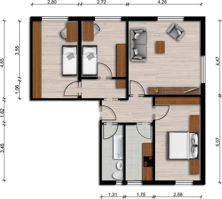 Vorschaubild für Wohnung:  Lilienthalstr. 14 (Hoyerswerda) 1