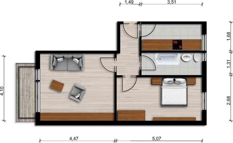 Vorschaubild für Wohnung:  Ulrich-v.-Hutten-Str. 17 (Hoyerswerda) 1