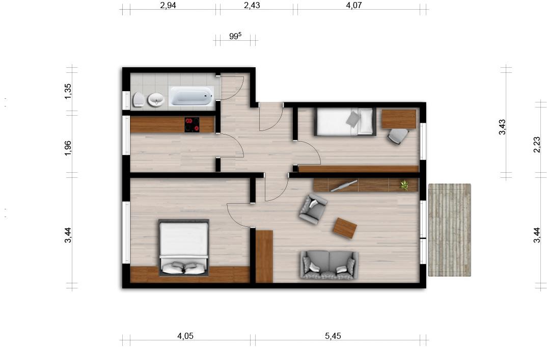 Vorschaubild für Wohnung:  Curiestr. 29 (Hoyerswerda) 1