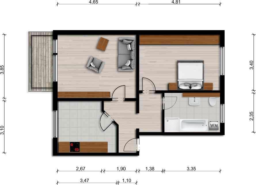 Vorschaubild für Wohnung:  Ulrich-v.-Hutten-Str. 27 (Hoyerswerda) 1