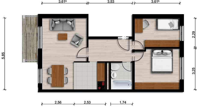 Vorschaubild für Wohnung:  Albert-Schweitzer-Str. 35 (Hoyerswerda) 1