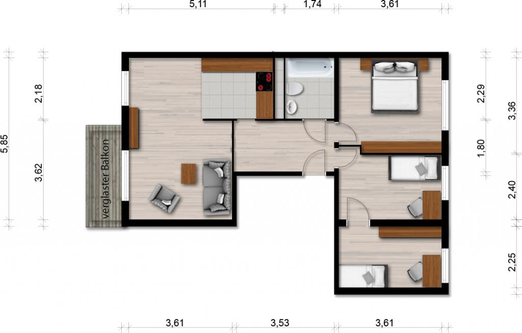 Vorschaubild für Wohnung:  Ratzener Str. 1 (Hoyerswerda) 1