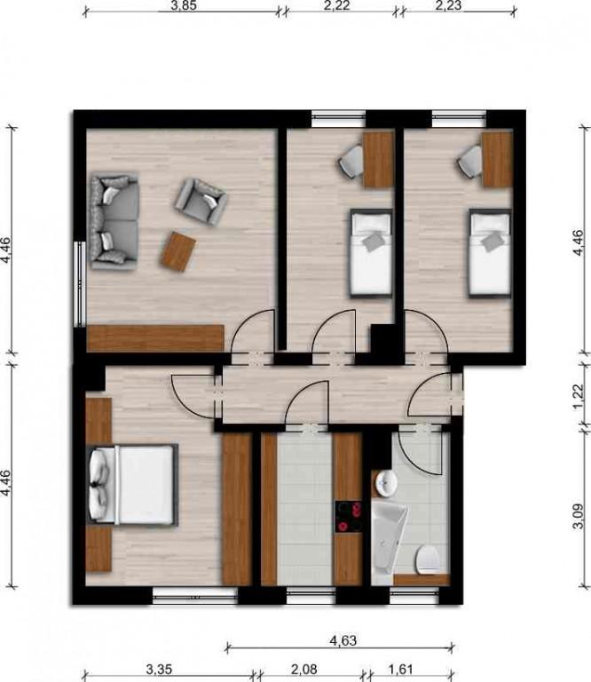 Vorschaubild für Wohnung:  Schulstr. 3a(-c) (Hoyerswerda) 1